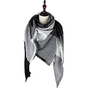 VIVIAN & VINCENT Women's Plaid Blanket Winter Scarf Warm Wrap Oversized Shawl Cape