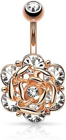 Flower Head with Gems CZ 316L 14GA Navel Belly Ring - Choose Silver Tone, Gold Tone, or Rose Gold Tone