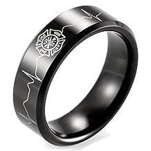 SHARDON Men's 8mm Black Beveled Tungsten Ring with Engraved Firefighter Shield and EKG
