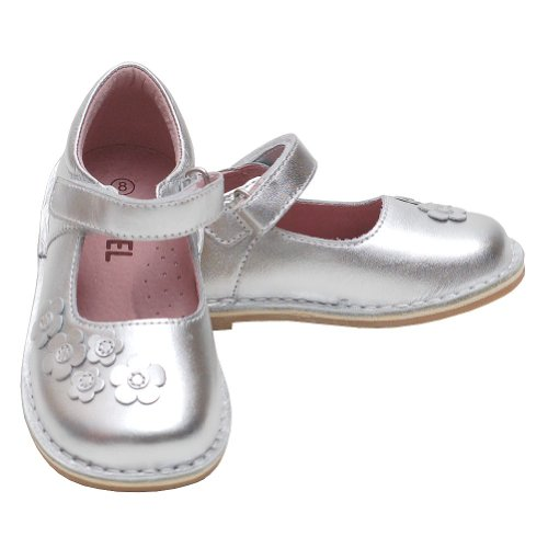 Silver Flowers Toddler Girls 7 Mary Jane Fall Shoes