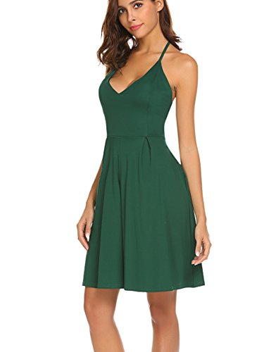 Green Spaghetti Pocket V Women's Dress Dresses Sleeveless with Strap Party Summer Sexy Neck Halife Backless fI1xwq6f