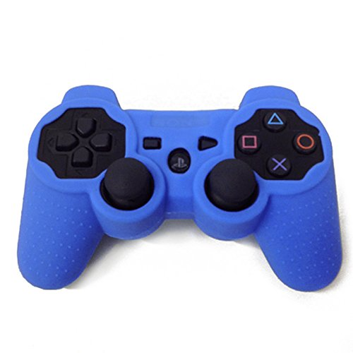 HDE Silicone Skin for Sony PS3 Controller Rubberized Grip Cover Case for Playstation 3 Dualshock Wireless Game Controllers (Blue)