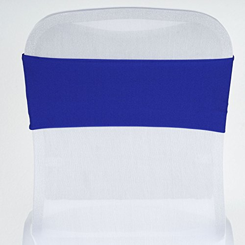 BalsaCircle 10 Royal Blue New Spandex Chair Sashes Bows Ties - Wedding Party Ceremony Reception Decorations Supplies ()