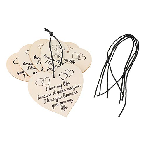4in Heart Pendant - SM SunniMix 5pcs String Charms Pendants Heart Shape Wooden Embellishments Ornaments Tags Engraved with Special Words - Pattern 4