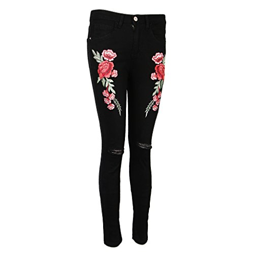Haute Broderie Noir Jeans Prettyia Pantalon Elastique Denim P Taille Longue Casual Rose Dchirs Femme qzwnHI