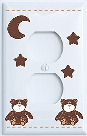Brown Teddy Bear Single Rocker Light Switch Plate with Brown Moon and Stars / Teddy Bear Nursery Decor (Single Rocker) Presto Chango Decor inc