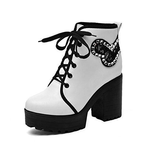 Diamanti Platform Stivali 1to9 Ladies Imitato Bandage Pelle Chunky Vetro Heels Con In Bianchi IXvIZcwxSq