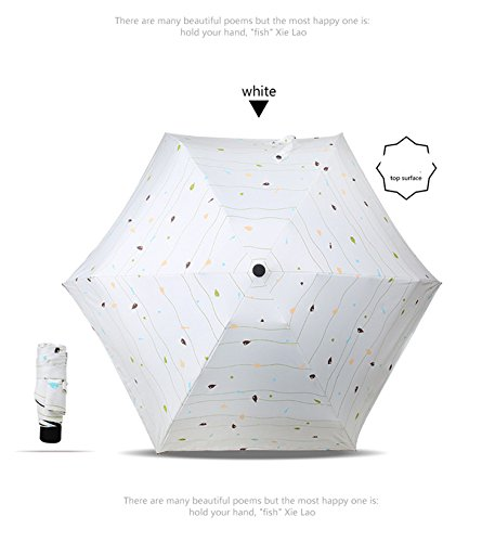 Ultra light sun umbrella, sunshade, seventy percent off clear umbrella, double use sunscreen, black glue, five folding pocket umbrella(Five folding - Small fish - white) by 4Sjkzmas58