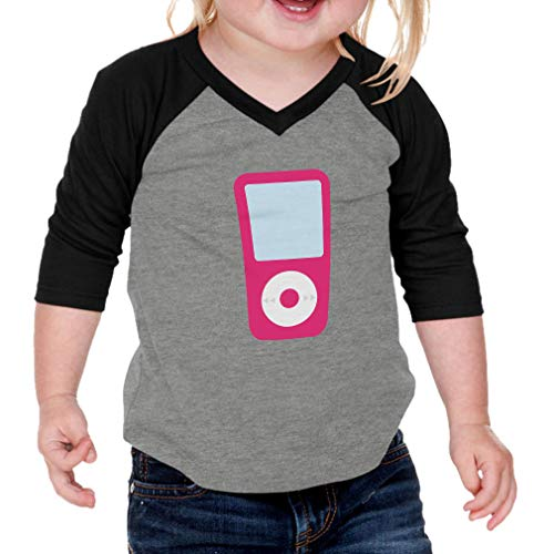 (Cute Rascals Pink iPod Cotton/Polyester 3/4 Sleeve V-Neck Boys-Girls Infant Raglan T-Shirt Baseball Jersey - Gray Black, 12 Months)