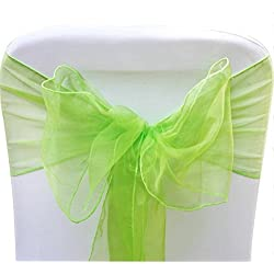 V-Dragons Organza Chair Cover Bow Sash Wedding Banquet Party Decor (50, Lime green)
