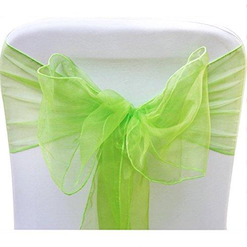 V-Dragons Organza Chair Cover Bow Sash Wedding Banquet Party Decor (50, Lime green)