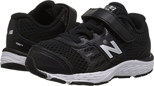 Gym Shoes Boys (New Balance Boys' 680v5 Hook and Loop Running Shoe, Black/White, 7.5 W US Toddler)