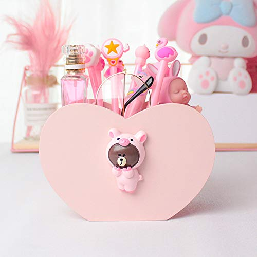 YOURNELO Cartoon Cute Pink Heart-Shaped Pen Pencil Holder Desk Organizer Accessories (16)