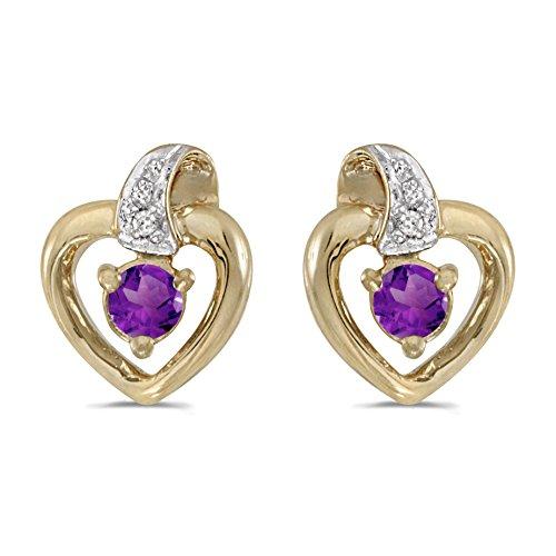 Amethyst Cluster Heart Post Earrings - 4