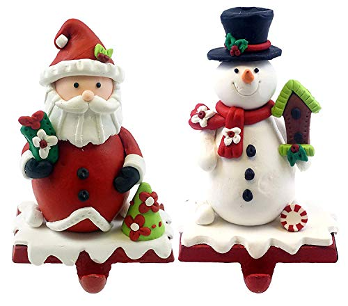 - Gerson Wintry Santa Claus & Snowman Stocking Holders - Set of 2