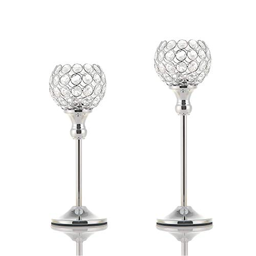 VINCIGANT Set of 2 Silver Crystal Pillar Votive Candle Holders Candelabra Dining Room Table Centerpiece Decoration Gifts Boxed