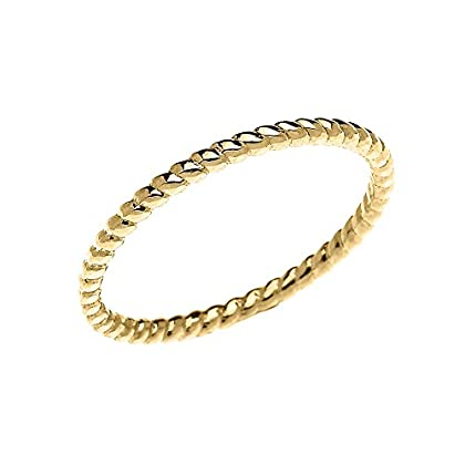 10k Yellow Gold Dainty Stackable Rope Design Ring
