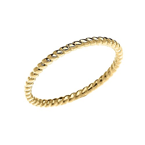 10k Yellow Gold Dainty Stackable Rope Design Ring (Size 7.75)