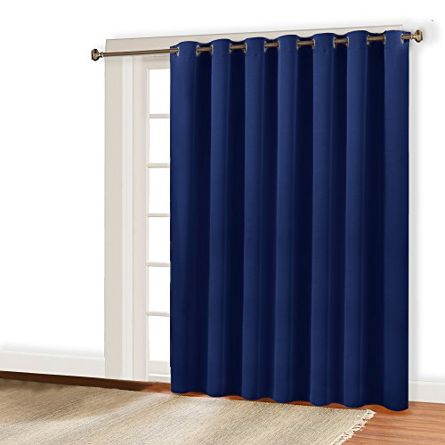 Sliding Rings - RYB HOME Wide Vertical Insulated Blind Curtain - Indoor Outdoor Patio Door Shades Panel with Ring Top Blackout Panel for Sliding Glass Door/Gazebo / Dressing Room by, 100 x 95 Inch, Navy Blue