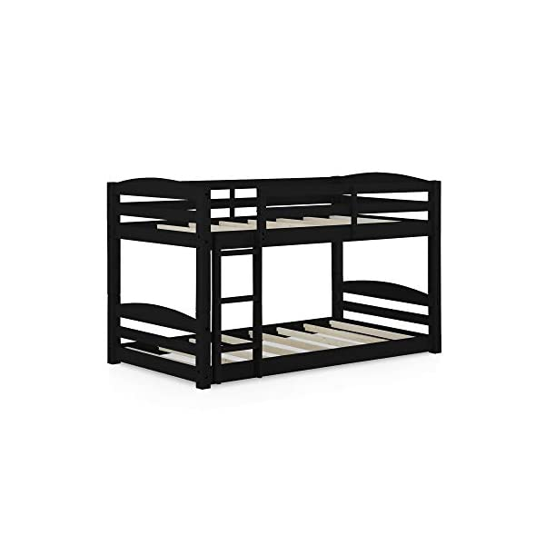 Dorel Living Phoenix Solid Wood Twin over Twin Floor Bunk Beds with Ladder and Guard Rail, Mocha 5