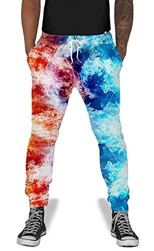 UNIFACO Men Women 3D Ice Print Pants Fire Sports Joggers Casual Trousers Swaetpants