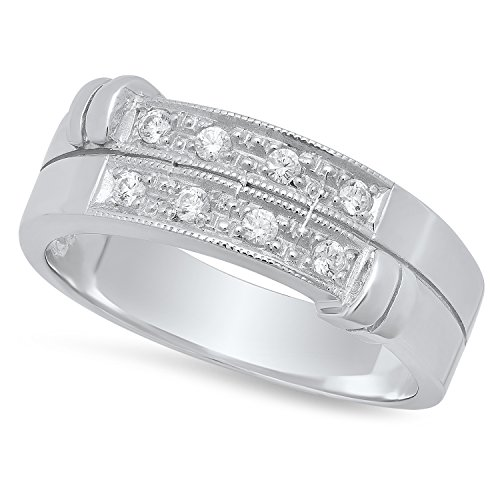 Sterling Silver Italian Crafted CZ Accented Baroque Double Row 7.4mm Wedding Band, Size 11 + Bonus Cloth by The Bling Factory