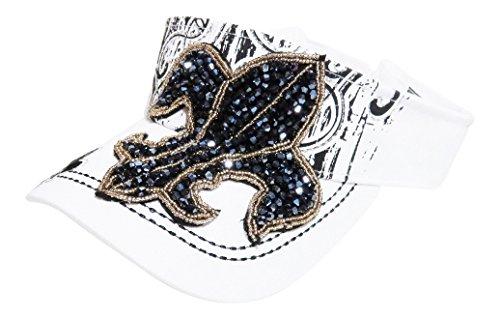 Beaded Fleur De Lis Sun Visor Hat Cap (White)