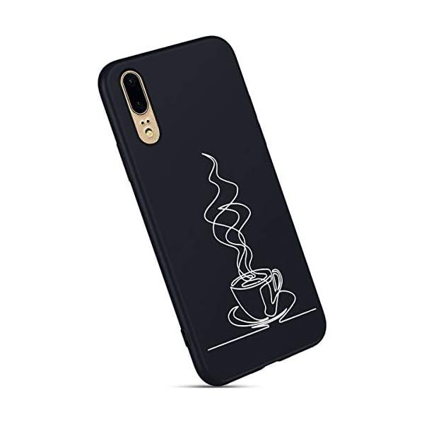 Robinsoni Cover Compatible con Huawei P20 Case Flessibile Nera Custodia in Gomma Antiurto Caso Modello Semplice Silicone… 3 spesavip
