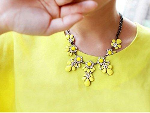 Ocaler® Fashion Women Vintage Crystal Flower Crystal Bib Choker Statement Necklace (Yellow)
