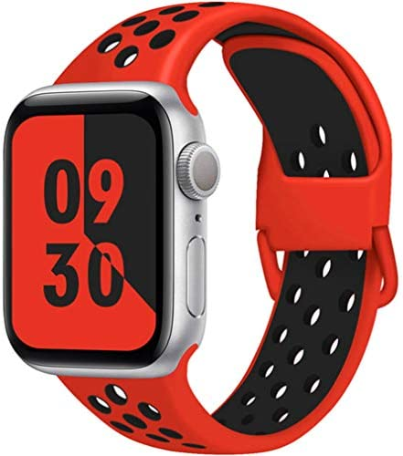HIGBRE Compatible for Apple Watch Bands 38mm 40mm 42mm 44mm, Soft Silicone Wristband Replacement Sport Loop Compatible for iWatch Series 6/SE/5/4/3/2/1, Nike+ Sport Edition
