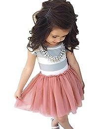 Baby Toddle Girls Tutu Dress Short Sleeves Stripe Tulle Skirts Mini Dress
