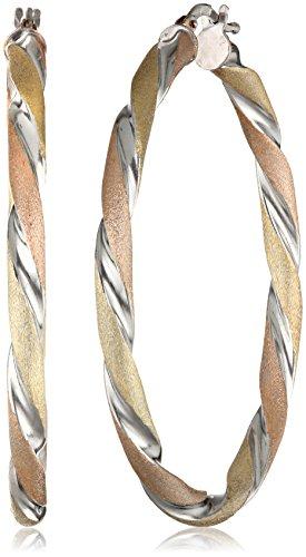 Silver Twisted 40 mm  Round Hoop Earrings ()
