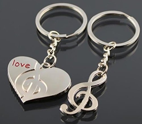 - 1 Pair Mini Pocket Couple Heart G Clef Keychain Keyring Keyfob Lovers Valentine's Day Keys Chains Rings Tags Strap Wrist Crucial Popular Cute Wristlet Utility Keyrings Tool Teenager Teen Gift, Type-06