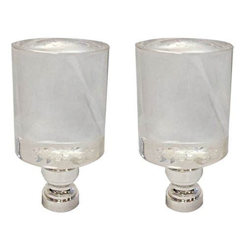 (Royal Designs Short Cylinder Clear Lamp Finial with Polished Silver Base - Set of 2)