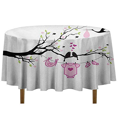 DouglasHill Gender Reveal Leakproof Polyester Tablecloth Newborn Girl Announcement Design with Birds on The Branch Hearts Love Outdoor and Indoor use D35 Inch Pink Lime Black