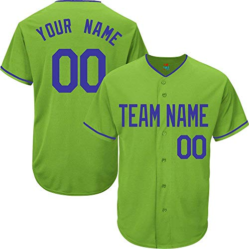 (Light Green Custom Baseball Jersey for Men Women Youth Replica Embroidered Team Name & Numbers S-5XL Blue)
