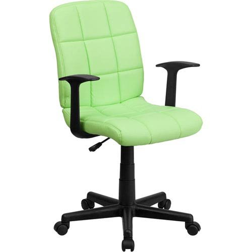 Parkside Mid-Back Green Quilted Vinyl Swivel Task Chair Nylon Arms