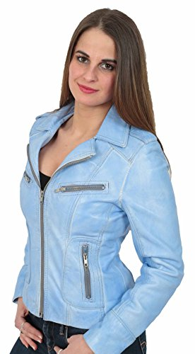 da Biker da Betty Ultimo pelle modello stile donna Zip blu denim Giacca donna in qvTtB5aT