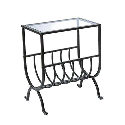 (Candace & Basil Accent Table - Stardust Brown Metal with Tempered Glass)