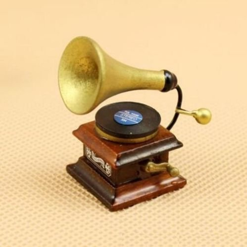 (EatingBiting(R) Dollhouse Miniature Doll Furniture Accessories , 1:12 Scale Dollhouse Miniature Vintage Phonograph Gramophone Record Doll Mini Life Scene Craft , Charming Retro Vivid)