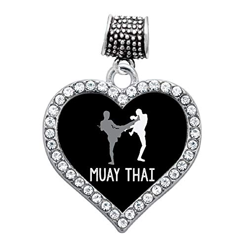 Inspired Silver - Muay Thai Memory Charm for Women - Silver Open Heart Charm for Bracelet with Cubic Zirconia Jewelry