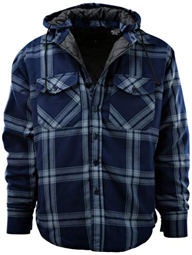 Mens Button Down Flannel Jackets with Detachable Hoodie (Many Patterns and Styles to Choose from) (3XL, 6B-Navy)