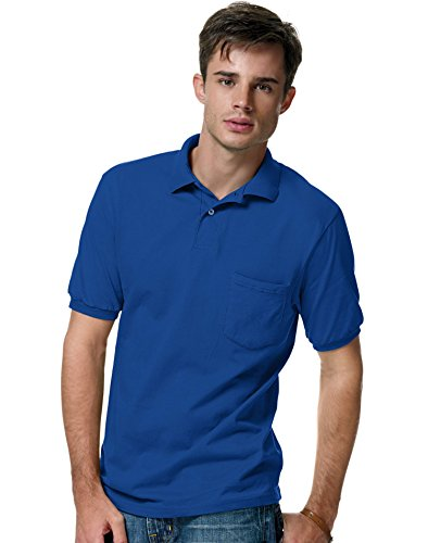 Hanes Men's Cotton-Blend EcoSmart® Jersey Polo with Pocket, 3XL, Deep (Cotton Jersey Sport Shirt)