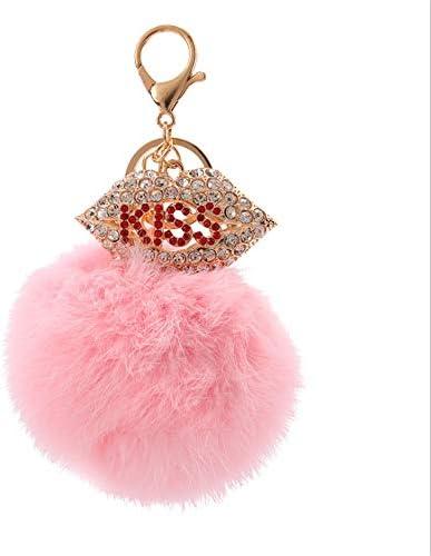 ラインストーンの口は、ポンポンバッグチャームペンダントクリスタルカーキーチェーンキーリングアクセサリースタイルのファーボルキーホルダー女性のための財布のハンドバッグトートバックパックの携帯電話の装飾 花が咲く (Color : C5)