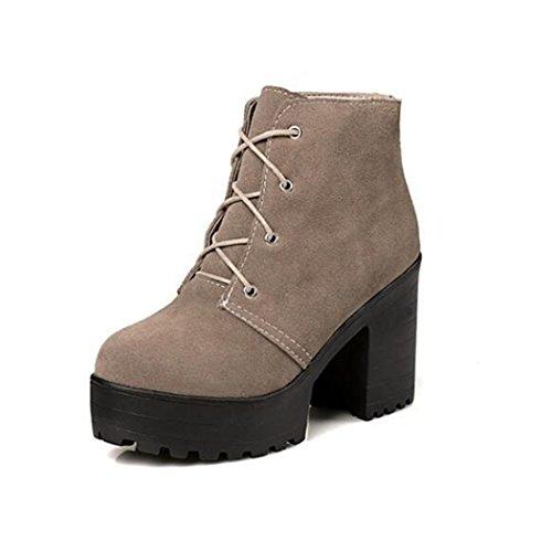y con mujer otoño Taiwán ZQ QX redonda zapatos Beige tacón hembra grande yardas zapatos el botas de de moda invierno cabeza de impermeable grueso de Martin El casual EwwtBqnr7
