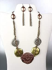 Juego de collar y pendientes de metal con diseño de discos de estilo antiguo multicolor para mujer y hombre