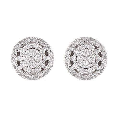 10K White Gold Diamond Halo Stud Earrings with Friction Back (0.50 cttw, I-J Color, I1-I2 Clarity)