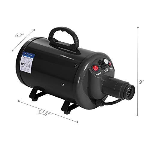 Bonnlo 2400W 3.2HP Stepless Adjustable Speed Pet Grooming Hair Dryer with Heater Quick Blower for Dogs Cats-4 Different Nozzles(Single Motor)(Black) by Bonnlo (Image #5)