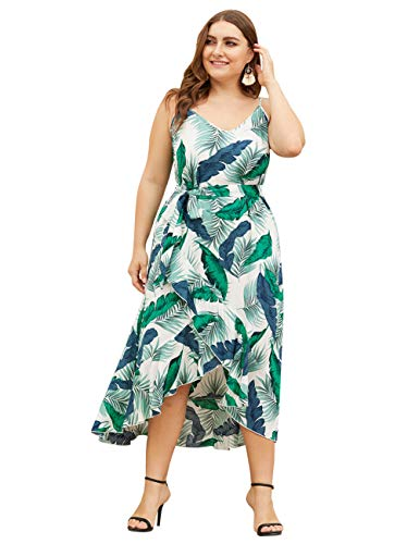 HUHHRRY Party Dress Plus Size Long Dress Women Casual V Neck Sleeveless Boho Flower Print Dresses