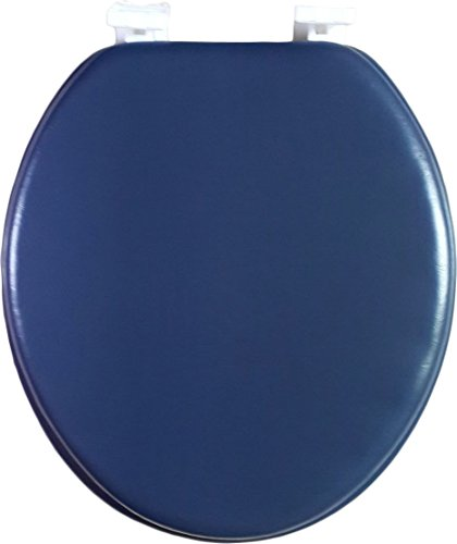 Dream Bath Soft Cushioned Round Front Toilet Seat with non-slip seat and quick-attach easy install hardware, Navy Blue